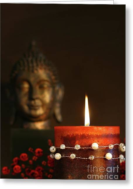 Painted Sculpture Greeting Cards - Zen candle and buddha statue Greeting Card by Sandra Cunningham