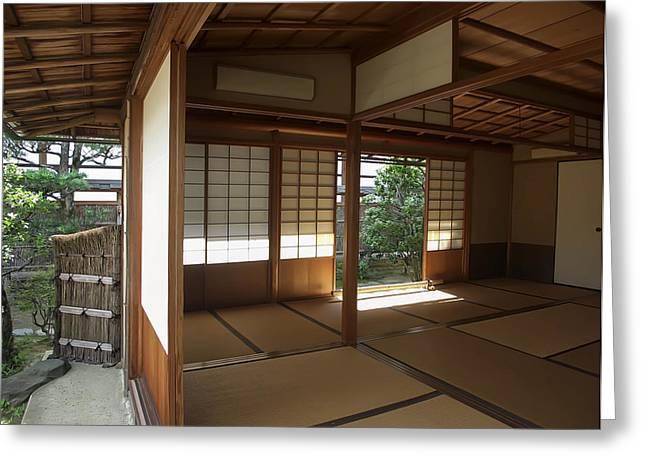 Shoji Greeting Cards - Zen Meditation Room Open To Garden - Kyoto Japan Greeting Card by Daniel Hagerman