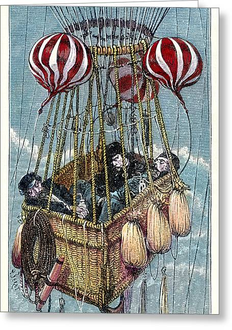 Zenith Balloon Ascent, 1875 Greeting Card by Detlev Van Ravenswaay