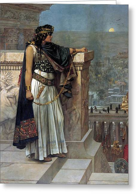 Surveying Greeting Cards - Zenobias last look on Palmyra Greeting Card by Herbert Gustave Schmalz