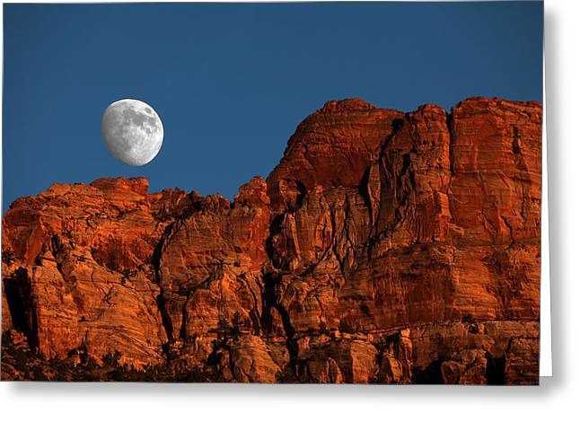 David Yunker Greeting Cards - Zion Moonrise Greeting Card by David Yunker
