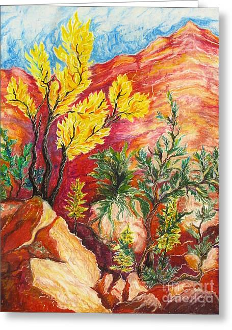 Layers Pastels Greeting Cards - Zion Vignette Greeting Card by Yvette Rolufs