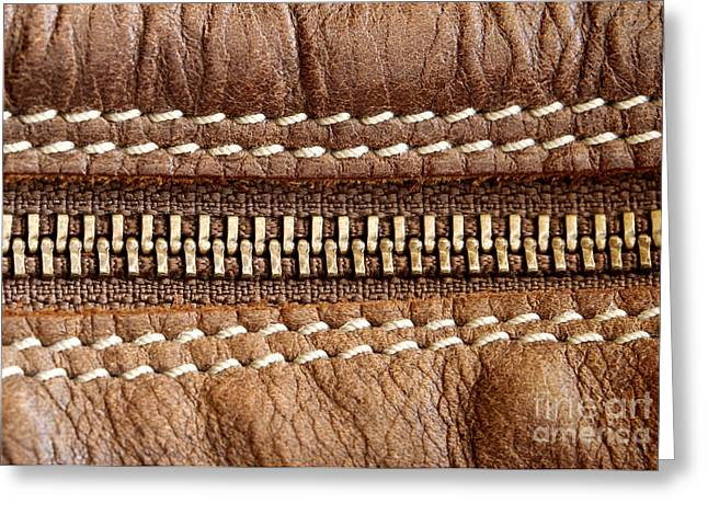 Abstract Style Greeting Cards - Zipper and leather detail Greeting Card by Blink Images