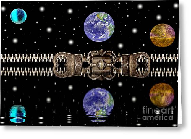 Negotiating Greeting Cards - Zipper and planets Greeting Card by Odon Czintos