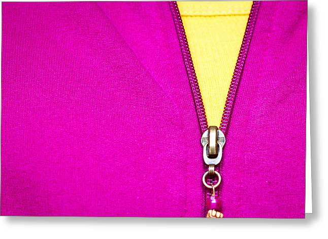 Yellow Sweater Greeting Cards - Zipper Greeting Card by Anya Brewley schultheiss
