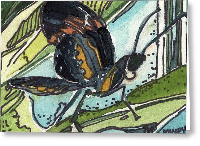 Antenna Drawings Greeting Cards - Zippy the Butterfly Greeting Card by Mindy Newman