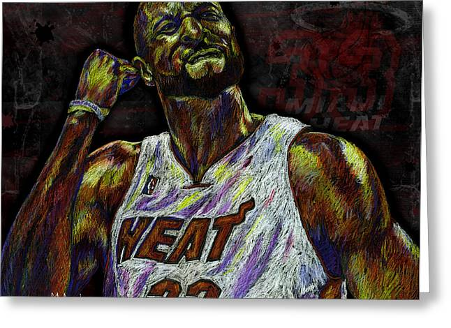 All Star Athlete Drawings Greeting Cards - Zo Greeting Card by Maria Arango