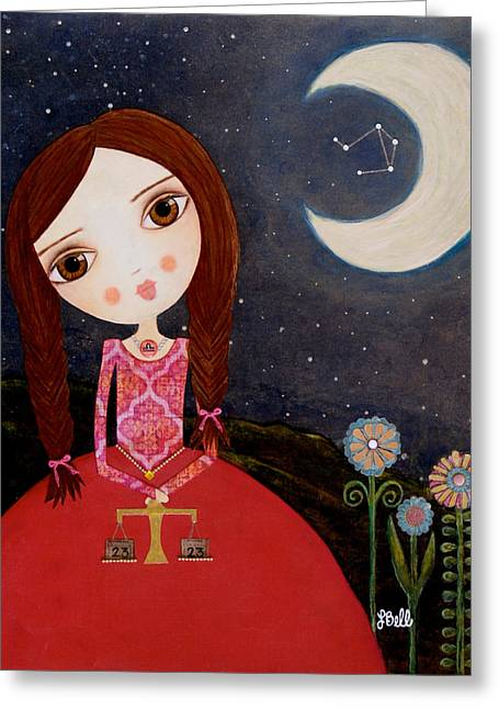 Luna Greeting Cards - Zodiac Libra Greeting Card by Laura Bell