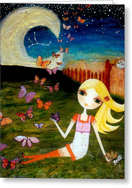 Cute Mixed Media Greeting Cards - Zodiac Virgo Greeting Card by Laura Bell
