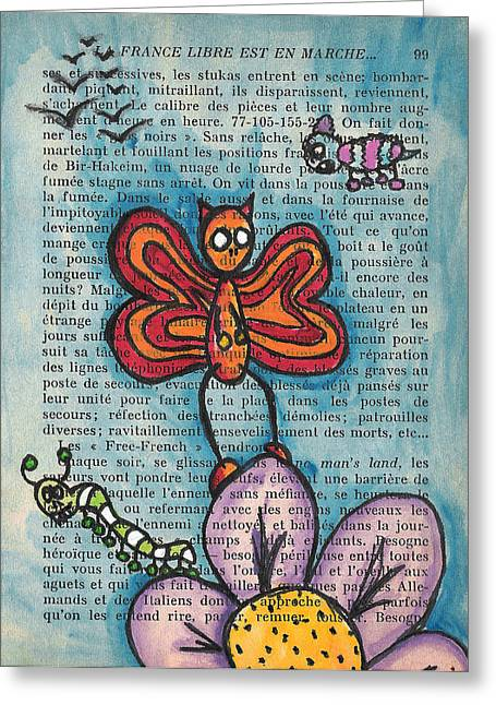 Cute Mixed Media Greeting Cards - Zombie Butterfly Greeting Card by Jera Sky
