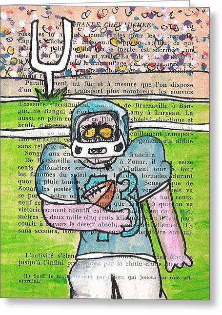 Crowd Mixed Media Greeting Cards - Zombie Football Greeting Card by Jera Sky