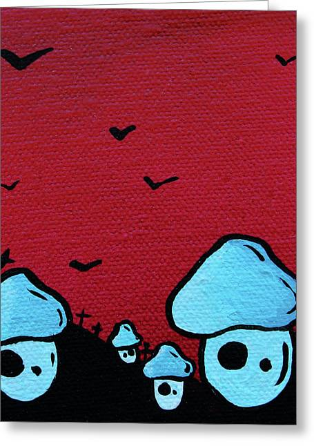 Brigade Greeting Cards - Zombie Mushroom Army Greeting Card by Jera Sky