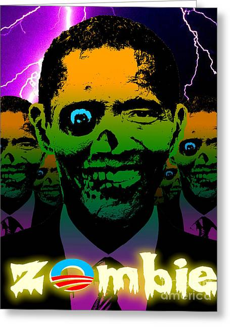 Liberal Digital Greeting Cards - Zombie Obama Horde Lightning Storm Greeting Card by Robert Phelps