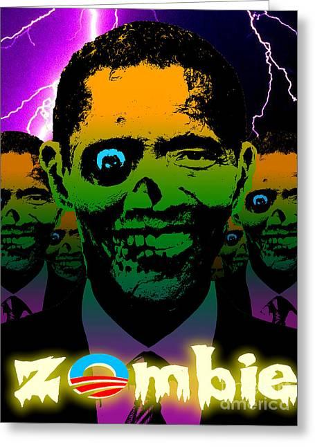 Robert Phelps Robert Phelps Art Greeting Cards - Zombie Obama Horde Lightning Storm Greeting Card by Robert Phelps