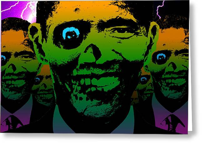 Zombie Obama Horde Lightning Storm Greeting Card by Robert Phelps