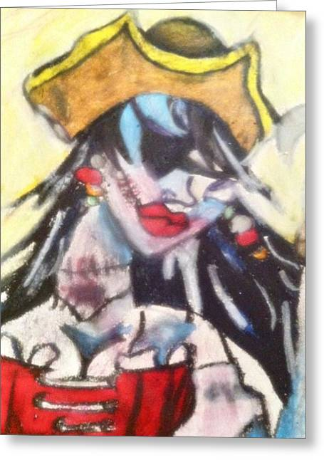 Pinup Pastels Greeting Cards - Zombie Pirate Wench Greeting Card by Courtney Gainey
