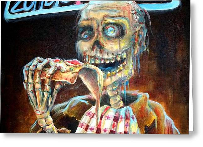 Zombie Pizza Greeting Card by Heather Calderon