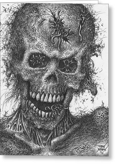 Zombie Portrait Number 4 Greeting Card by Dan Moran