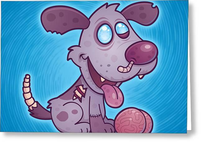 Worm Greeting Cards - Zombie Puppy Greeting Card by John Schwegel