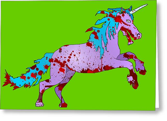 Zombie Unicorn Greeting Card by Jera Sky