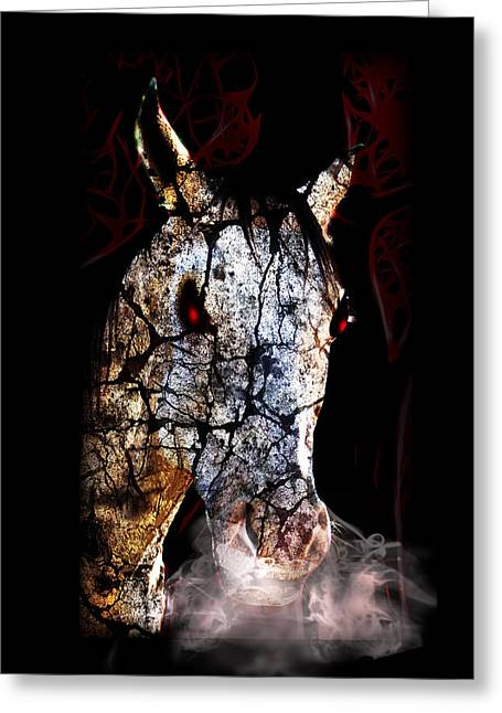 Tricks Mixed Media Greeting Cards - Zombified Horse Greeting Card by Gravityx Designs
