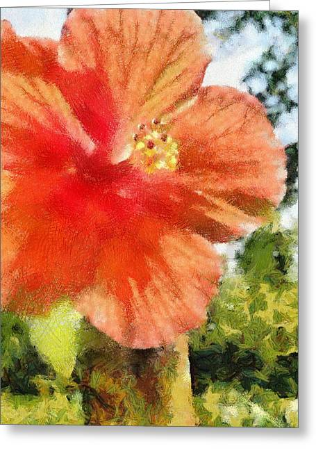 Red Flowers Greeting Cards - Zoo Flower Greeting Card by Jeff Kolker