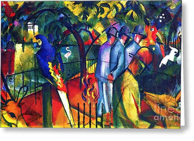 Macke Greeting Cards - Zoological Garden Greeting Card by Pg Reproductions