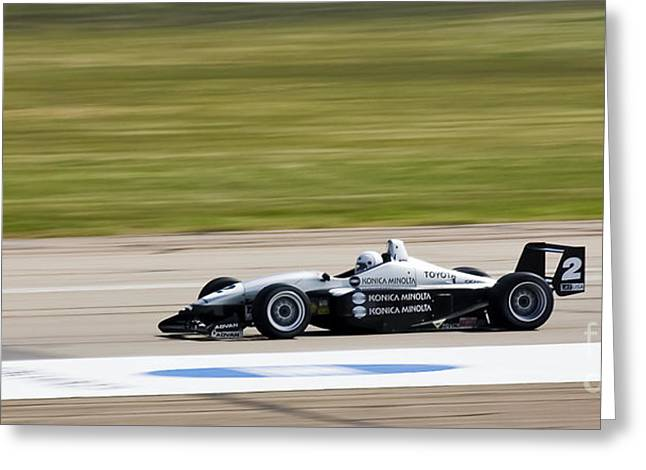 Indy Car Greeting Cards - Zoooooooom Greeting Card by Darcy Michaelchuk