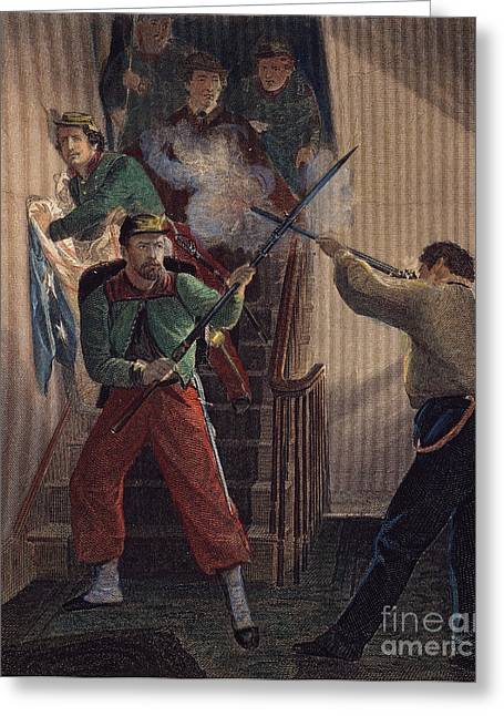 Bayonet Greeting Cards - Zouave Fatality, 1861 Greeting Card by Granger