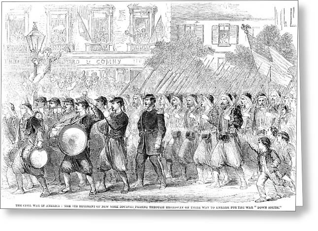Pantaloons Greeting Cards - Zouaves Marching, 1861 Greeting Card by Granger