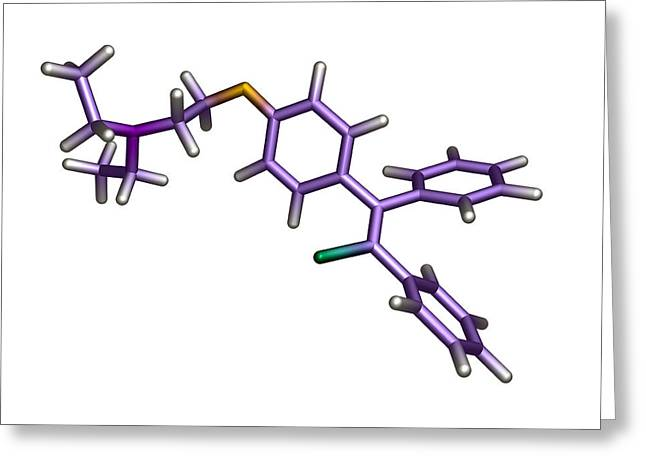 Infertility Greeting Cards - Zuclomifene Infertility Drug Molecule Greeting Card by Dr Tim Evans