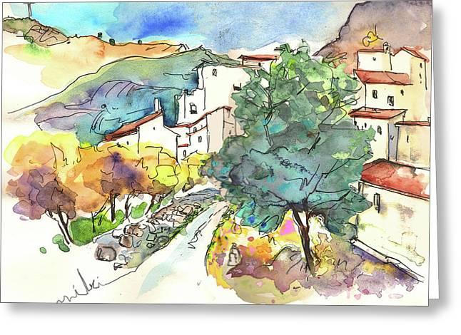 Travel Sketch Drawings Greeting Cards - Zuheros in Spain 02 Greeting Card by Miki De Goodaboom