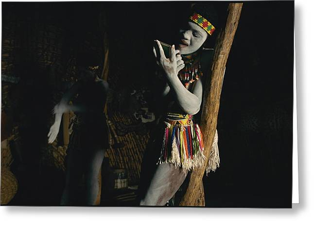 Native African Ethnicity Greeting Cards - Zulu Women Put On Body And Facial Greeting Card by Chris Johns