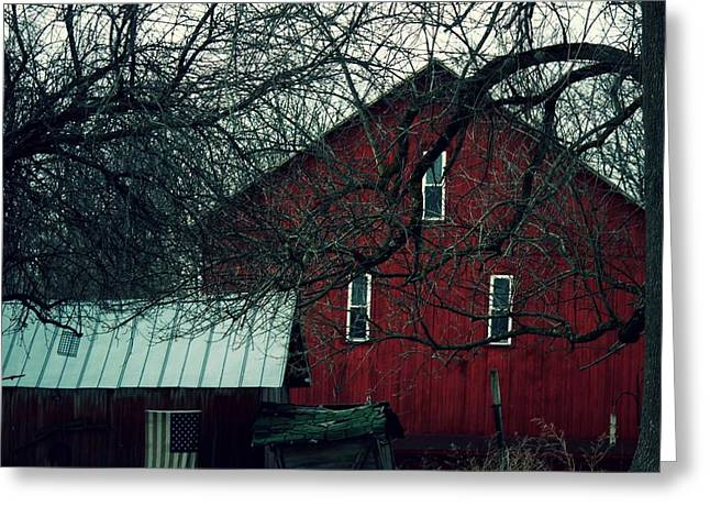 Tin Roof Greeting Cards -            Barn and Flag Greeting Card by R A W M