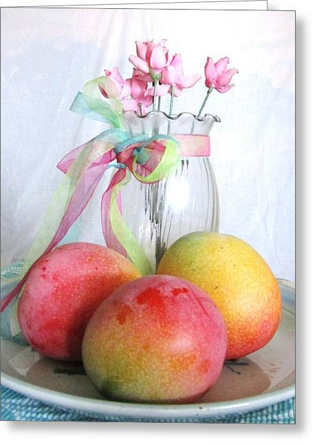 Green And Yellow Greeting Cards -         Three Mangoes Greeting Card by Trudy Brodkin Storace