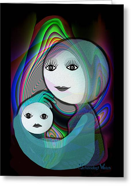 Naive Art Greeting Cards -  044 - Full Moon  Mother and Child   Greeting Card by Irmgard Schoendorf Welch