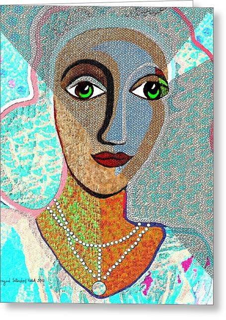 Pensive Digital Greeting Cards -   081 - Woman Turquoise  Greeting Card by Irmgard Schoendorf Welch