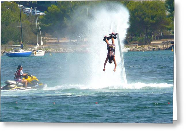 Jet-propelled Greeting Cards - # 1 Skyboarding Ibiza Spain Greeting Card by Alan Armstrong