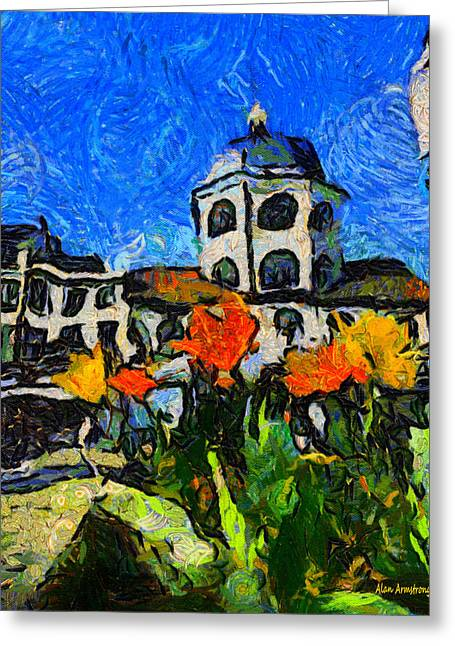 Van Gogh Style Greeting Cards - # 112 Tribute To Vincent The Dome Cinema Worthing UK Greeting Card by Alan Armstrong