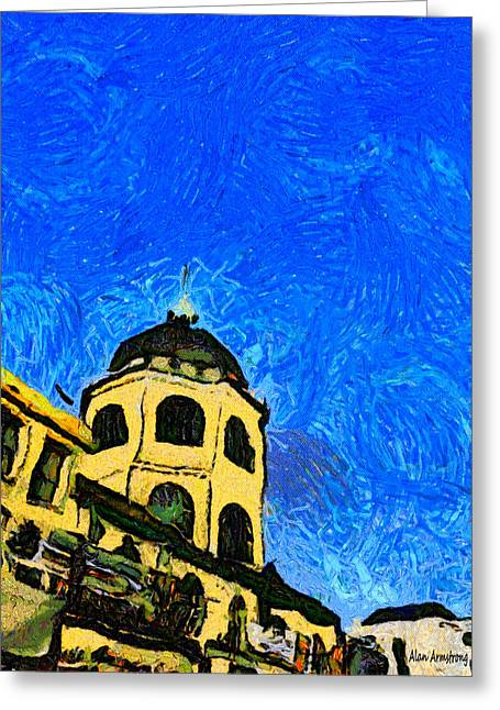 Van Gogh Style Greeting Cards - # 115 Tribute To Vincent The Dome Cinema Worthing UK Greeting Card by Alan Armstrong