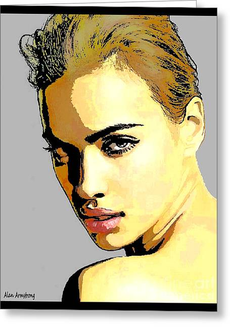 Super Stars Greeting Cards - # 14 Irina Shayk Portrait Greeting Card by Alan Armstrong