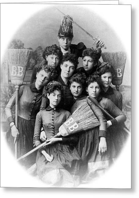 Brigade Greeting Cards -  1880s 1888 Archive Black White Broom Brigade Hat Greeting Card by Mark Goebel