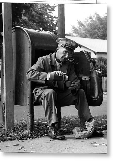 Vacuum Bottle Greeting Cards -  1950s 1960s Archive Bag Black White Break Coffee Greeting Card by Mark Goebel