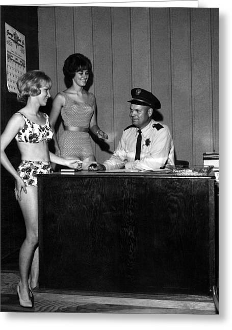 Police Talking Greeting Cards -  1960s 1964 Archive Badge Bathing Suit Black Greeting Card by Mark Goebel
