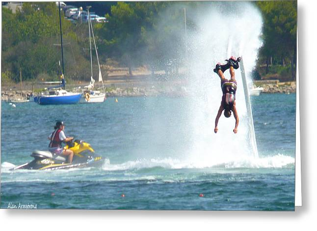 Jet-propelled Greeting Cards - # 2 Skyboarding Ibiza Spain Greeting Card by Alan Armstrong