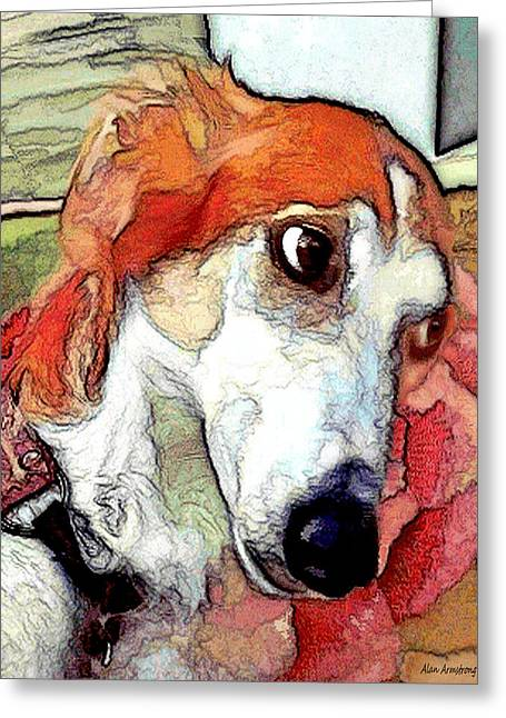 Puppy Digital Art Greeting Cards - # 21 Saluki dog Greeting Card by Alan Armstrong