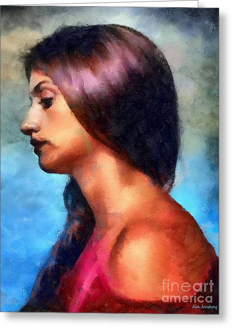 Movie Art Greeting Cards - # 22 Penelope Cruz Portrait Greeting Card by Alan Armstrong