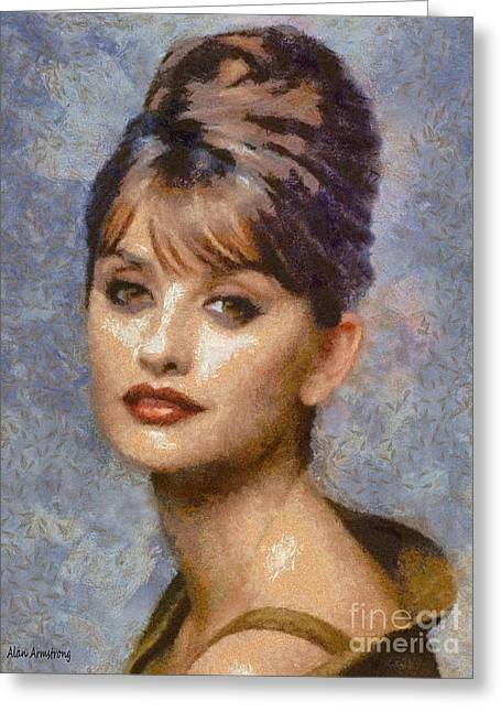 Movie Art Greeting Cards - # 23 Penelope Cruz Portrait Greeting Card by Alan Armstrong