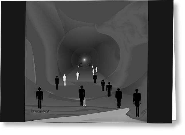 249 - The Light At The End Of The Tunnel   Greeting Card by Irmgard Schoendorf Welch