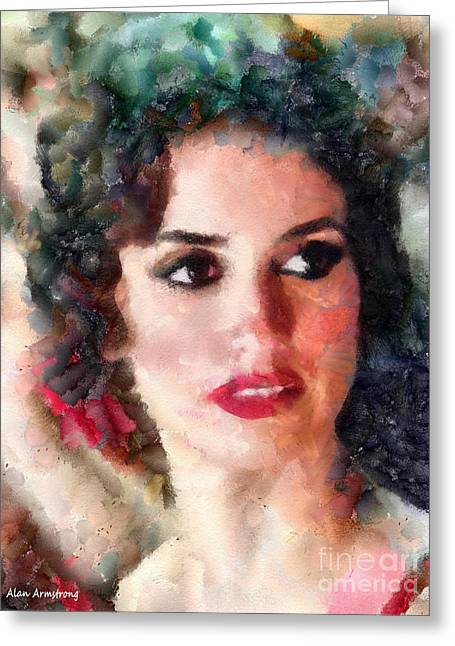 Penelope Cruz Greeting Cards - # 25 Penelope Cruz Portrait Greeting Card by Alan Armstrong